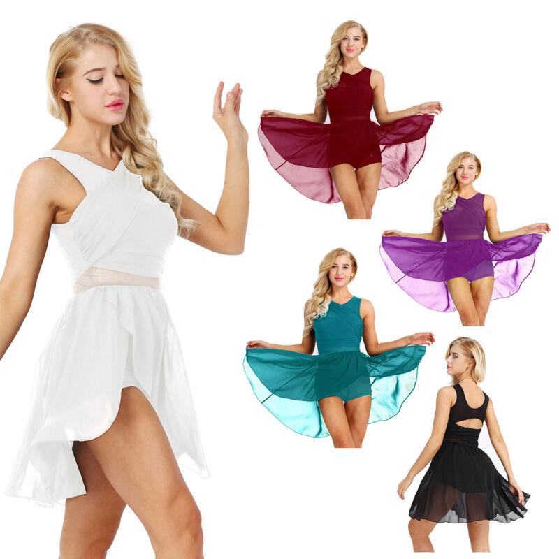 Damen Chiffon Kleid Tanzkleid Asymmetrisch Ballettkleid Tanz Latin Tango Kleider 3