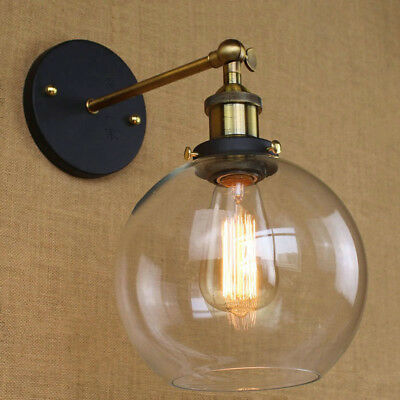 Modern Industrial Antique Brass Arm Wall Sconce Light  Glass Shade Wall Lamp 9