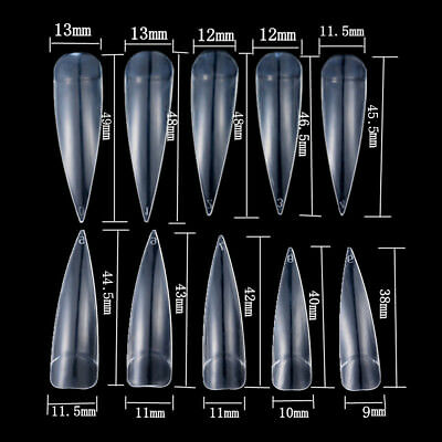 500X Long Stiletto Pointy False Nail Tips 10 SIZE Natural/Clear/White Art Cover 3