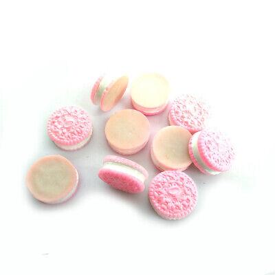 10Pcs Miniature Resin Medium Oreo Sandwich Biscuit Dollhouse Accessory Pink 2