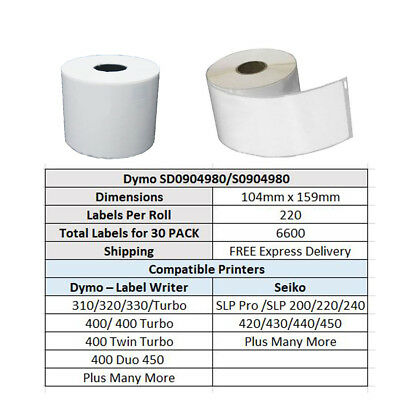30 Rolls SD0904980 Compatible Dymo 4XL Label Shipping Labels 104mm x 159mm