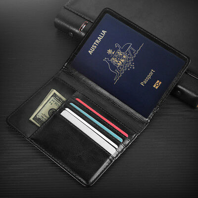 PU Leather RFID Blocking Passport Travel Wallet Holder ID Cards Cover Case 6