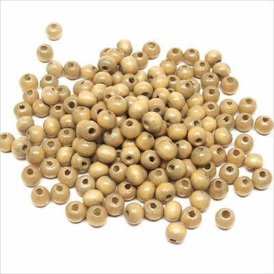 Lot de 100 Perles rondes en Bois 6mm Marron clair 2