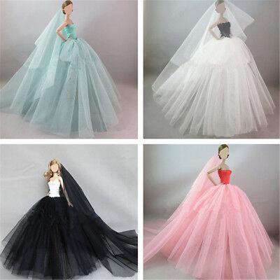Handmade Royalty Princess Dress/Wedding Clothes/Gown + veil for Barbie Doll 2