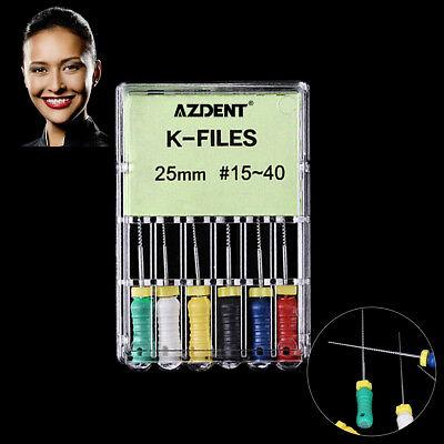K-FILES 6Pc/Kit Dental NITI Root Canal Endodontics 25mm #15-40 Hand Use File CA 6