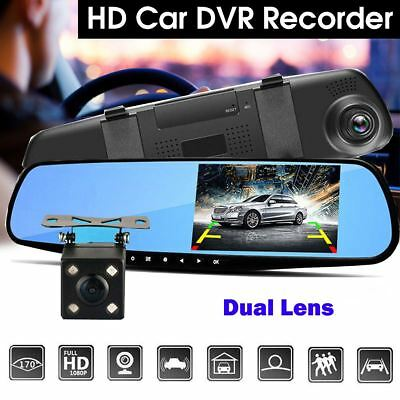 "HD 1080P 4.3"" Dual Lens Car DVR Dash Cam Reversing Camera Mirror Video Recorder 2"