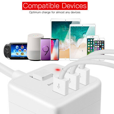 AU Cube Power Board Strip 3 USB+4 Socket Outlets Extension Cord Charger Charging 10