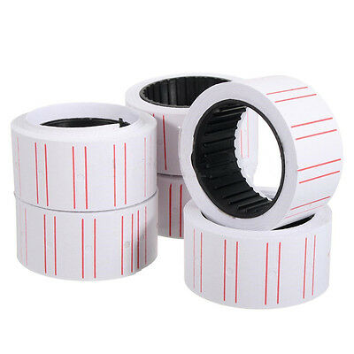 10 Rolls Price Label Paper Tag Sticker MX-5500 Labeller Gun White Red Line Fast<