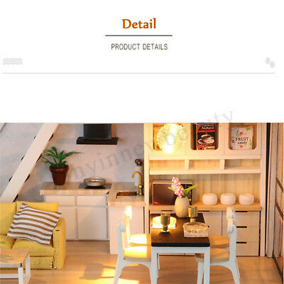 DIY LED Wooden Dollhouse Miniature Wooden Furniture Kit Doll House Kid's Toy AU 11