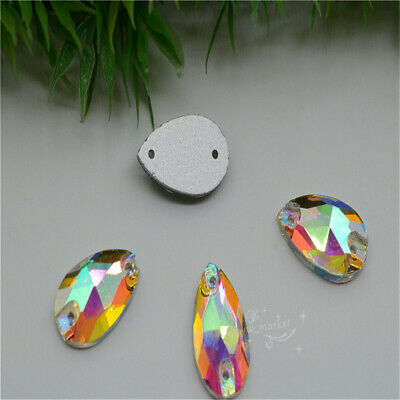 20mm x 30mm Colour Glass Faceted Glass Tear Drop Jewels Sew On 12pcs