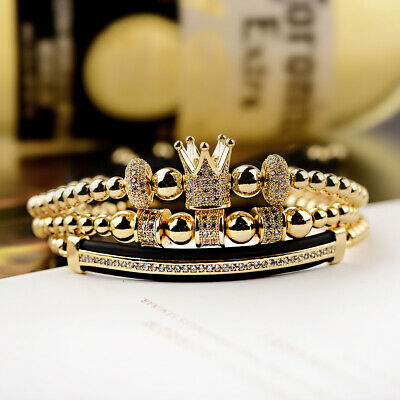 Luxury Jewelry Women Men's Micro Pave CZ Crown Braided Adjustable Bracelets Gift 2