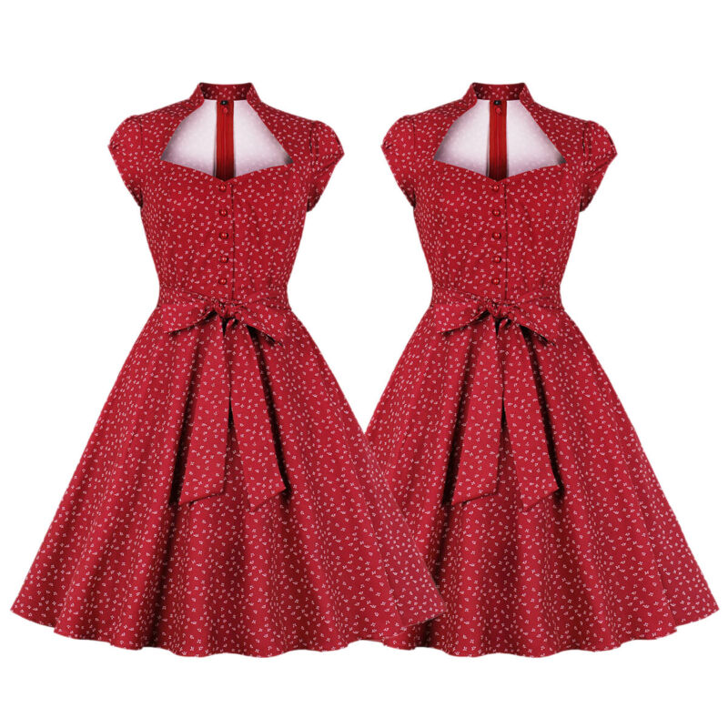 WOMENS VINTAGE STYLE 50s Rockabilly Evening Party Swing Flared Dress ...