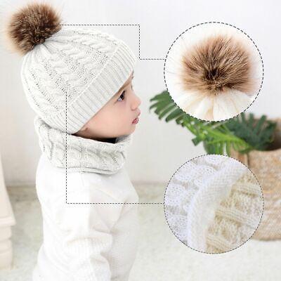 Newborn Baby Toddler Winter Warm Knitted Crochet Beanie Hat Cap Scarf Sets Boy 5