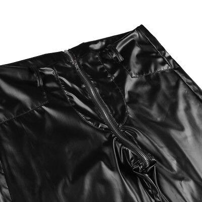 Herren Strumpfhose Wetlook Leggings schwarz Hosen Unterwäsche Pants mit Zipper 7