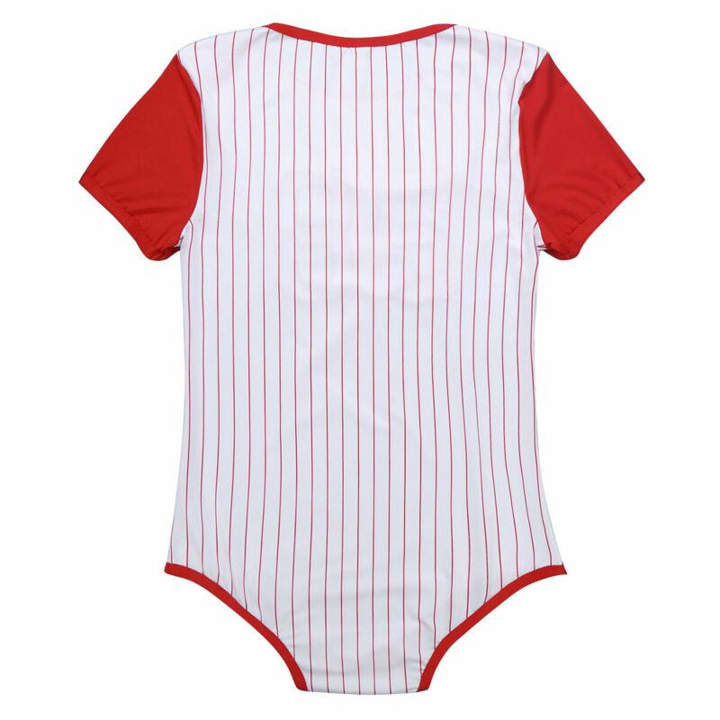 Herren Body Kurzarm Overall Baseball Druckknöpfe im Schritt Strampler Pyjamas 5