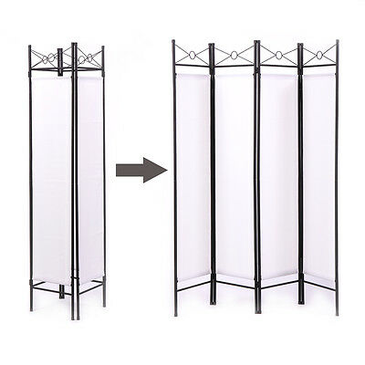 4 PANEL SCREEN Room Divider Fabric Metal frame Folding Partition ...