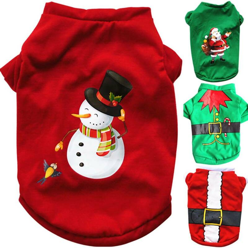 UK Pet Cat Dog Christmas Outfit Costumes Sweater Hoodie Dress Xmas Clothes Coat 4