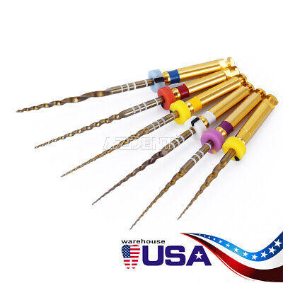 6Pcs Dental Endodontic Endo X-Pro Gold Taper NITI Rotary Files Tip Assorted 25mm 8