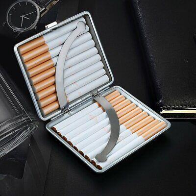 Cigarette Case Leather Metal Hold 20 Cigarette Smoke Holder Storage Case Black 4