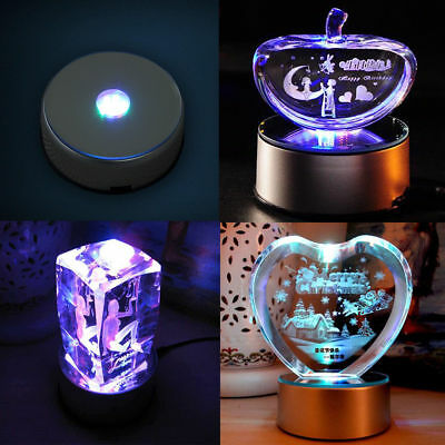 """4"""" Unique 360` Rotating 7 LED Colored Light Crystal Display Stand Base Holder"""