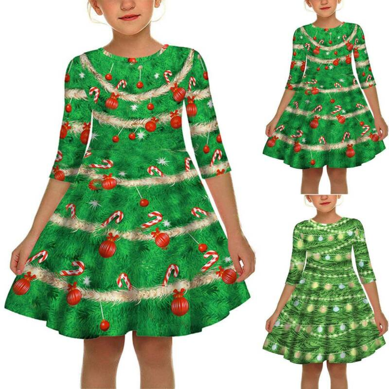 Kids Girl Princess Christmas Print Tunic Dress Xmas Party Swing Dresses Outfit S