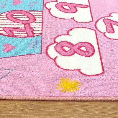 3 Of 4 Kids Childrens Princess Castle Pink Hopscotch Play Mat Rug 0 8m X 1 5m
