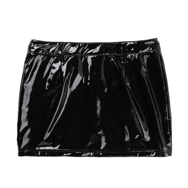 Damen Leder Optik Mini Rock mit Reißverschluss Metallic Röcke Reizwäsche Schwarz 6
