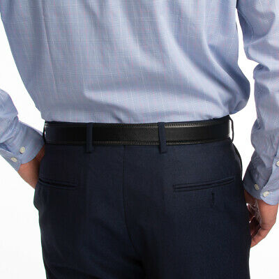 Men's Designer Leather Dress Belt With Sliding Ratchet Automatic Buckle Holeless 3