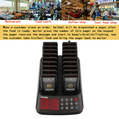 TIVDIO Restaurant 99Channels Paging Waterproof Guest Call System W/ 18*Pagers UK 2