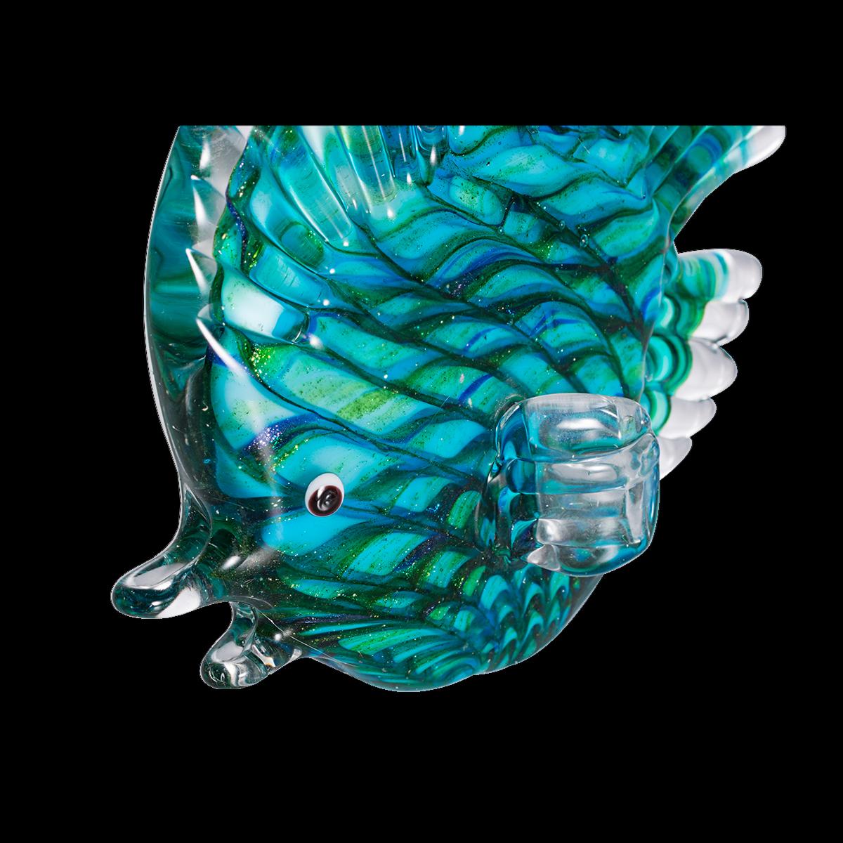 Crystal Stripe Tropical Fish Sculpture Art Glass Hand Blown Figurine Table Decor 2