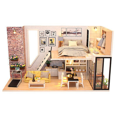 DIY LED Wooden Dollhouse Miniature Wooden Furniture Kit Doll House Kid's Toy AU 5