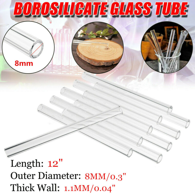 "12pcs 8mm OD Pyrex Glass Tubes Borosilicate Glass Blowing Tubing Clear 12 "" Long 6"