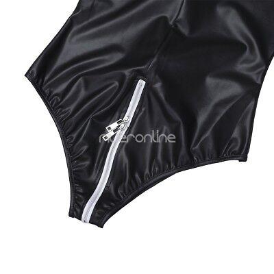 Damen Sexy Catsuit Langarm Leder Jumpsuits Bodysuit Clubwear mit Reißverschluss 5