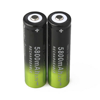 2pcs Skywolfeye 5800mah 18650 Battery 3.7v Rechargeable Li-ion Cell +USA Charger 8