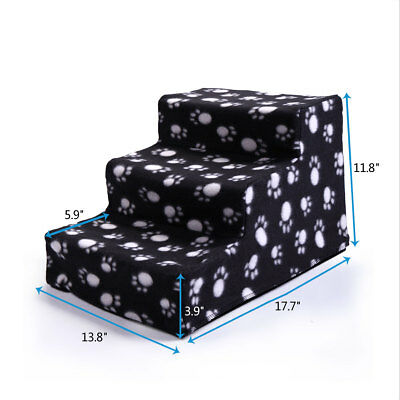 Black&White Pet Stairs 3 Step Dog Ladder Indoor Cat Ramp Steps Stair Portable 2