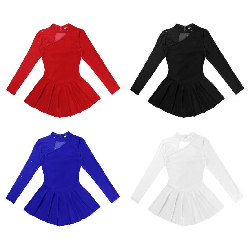Damen Kleider Lange Ärmel Ballettkleid Tanzkleid rückenfrei Eiskunstlauf Kleid 2