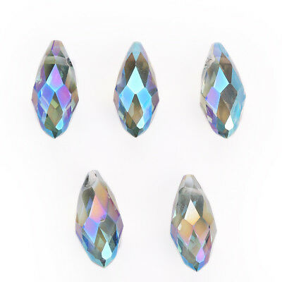 10pcs 10x20mm Charms Teardrop Faceted Pendant Glass Crystal Loose Beads Jewelry 7