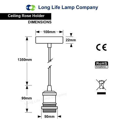 Ceiling Rose Fabric Flex Hanging Pendant Lamp Holder Light Fitting Lighting Kit 6