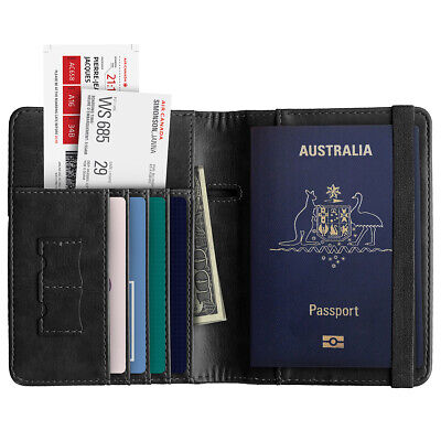 Slim Leather Travel Passport Wallet Holder RFID Blocking ID Card Case Cover AU 3