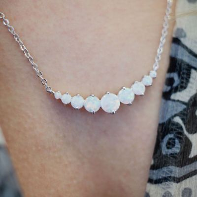 18K White Gold Plated & White Fire Opal Graduated Necklace 2
