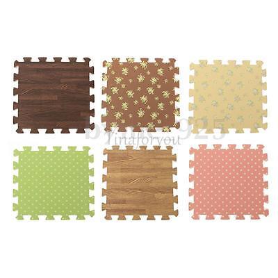 Wood Interlock Foam Floor Puzzle Pad Work Gym Mat Kid Safety Play Rug 31x31cm