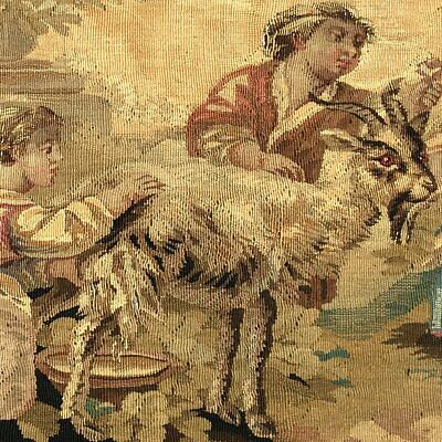 """RARE 55.5"""" Long Antique French Aubusson Tapestry Fragment, Sofa Panel, Figural 3"""