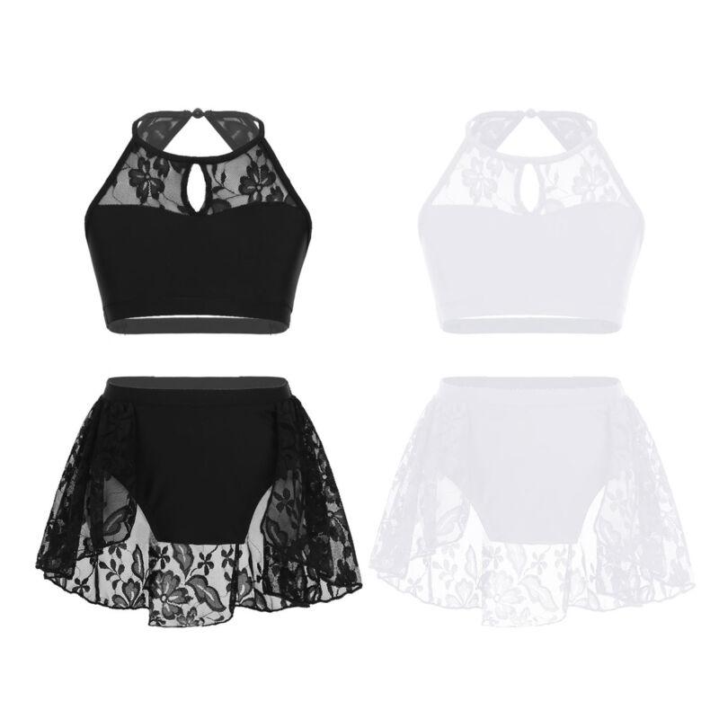 Kid Girls Two-Piece Ballet Dance Gymnastic Set Sleeveless Shiny Tank Top+Bottoms 4