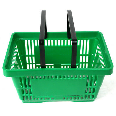 2 Handle Green Plastic Shopping Basket Retail Supermarket Use Hand Carry 5