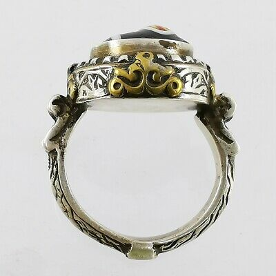 Ancient Lovely Mosaic Gabri Glass Half Bead Ring 925 Solid Silver #A46 2
