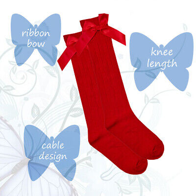 Girls Cute Spanish Style Knee High Cable Design Socks With Ribbon Bow Gift Idea 6