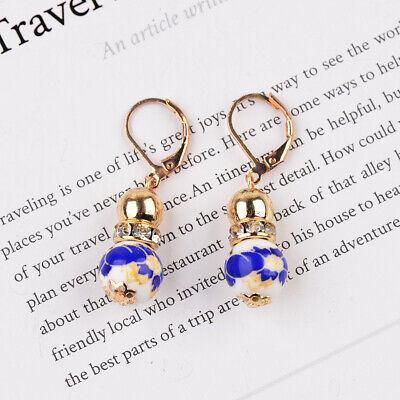 2 Beads Colored Enamel Gemstone Earrings Bohemian Handmade Fashion Earrings Gift 9