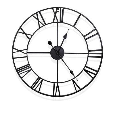 Large Outdoor Garden Wall Clock Metal Roman Numeral 40 60CM Round Face Black 3