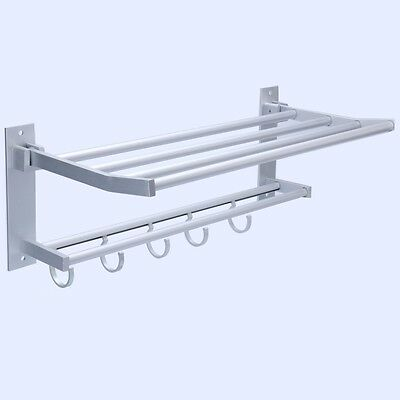 YaeKoo Aluminum Wall Mounted Utility Bathroom Storage Shelf /Towel Bar Hook Rack