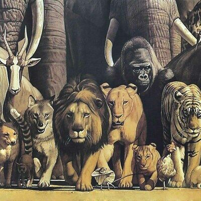 "MOSES RELIGIOUS ANIMAL KINGDOM CANVAS 46W/""x17H/"" NOAH/'S ARK by HARUO TAKINO"